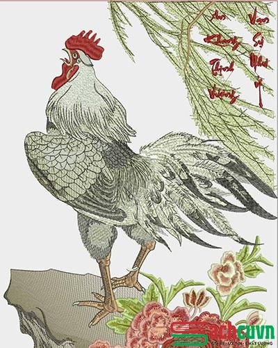 Tranh phong thủy - tranh thêu con gà trống